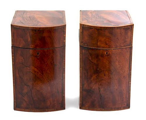 A Pair of Regency Inlaid Burl Walnut Knife Boxes Height 15 1/8 inches.