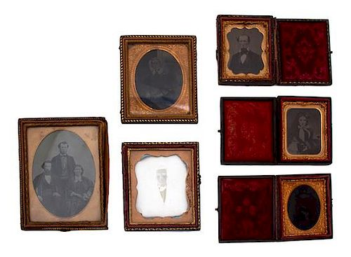 A Group of Six Daguerreotype Portraits in Gilt Frames Largest frame 4 3/4 x 3 3/4 inches.