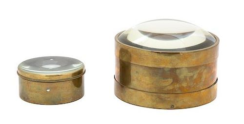 Two English Brass Cased Desk Magnifying Glasses Diameter of larger 6 5/8 inches.