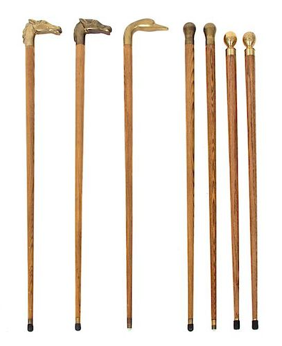 A Collection of Seven Brass Handled Ash Canes Length of tallest 35 1/2 inches.