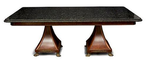 A William IV Style Gilt Metal Mounted Mahogany Two Pedestal Table Height 33 x length 89 x depth 49 1/2 inches.