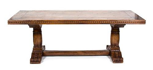 A William IV Style Carved Mahogany Library Table Height 29 1/2 x width 84 1/2 x depth 27 3/4 inches.