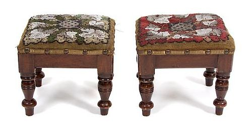 A Pair of Victorian Embroidered and Beaded Footstools Height 7 1/2 x width 8 1/2 x depth 7 1/2 inches.