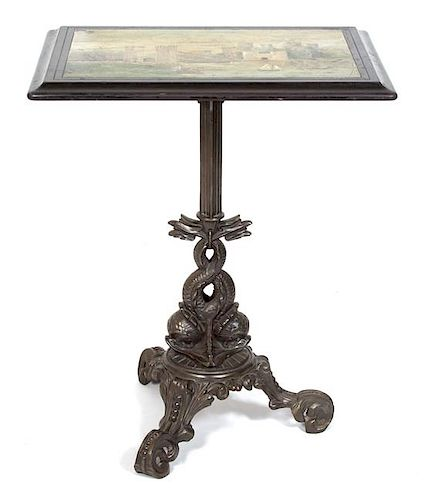 An English Victorian Painted Slate Top Table Height 30 x width 24 3/4 x depth 18 1/2 inches.