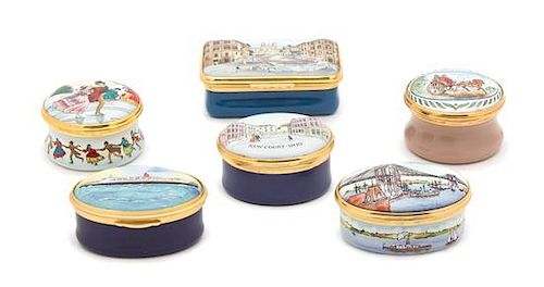 A Collection of Six English Enamel Pill Boxes Length of largest 2 1/2 inches.