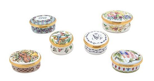 A Collection of Six English Enameled Pill Boxes Length of largest 2 1/2 inches.