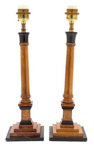 A Pair of English Oak Table Lamps Height overall 22 1/2 inches.