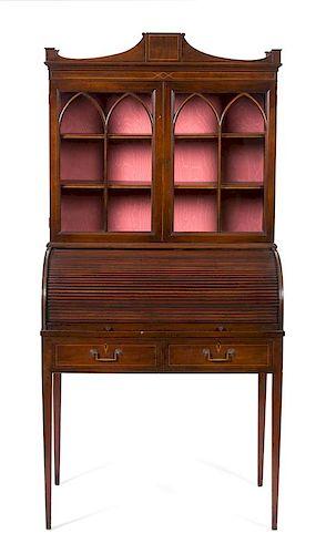 An American Empire Mahogany Tambour Secretary Desk Height 60 x width 33 1/2 x depth 21 inches.