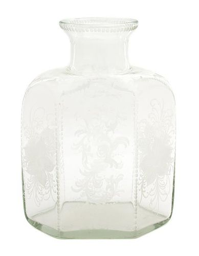 A Continental Etched Glass Hexagonal Bottle Height 12 3/4 inches.