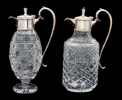 Two Silver Plate Mounted Cut Crystal Decanters Height 11 3/4 inches.