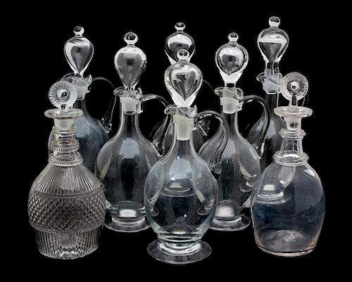 Eight English Glass Decanters Height of tallest 12 3/4 inches.