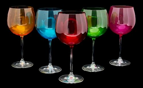 A Set of Colored Glass Stemware Height of taller 8 3/4 inches.