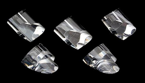 A Group of Five Steuben Crystal Hearts Height of taller 3 1/2 inches.