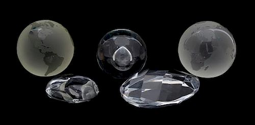 Five Tiffany Crystal Paperweights Length of longest 4 3/4 inches.