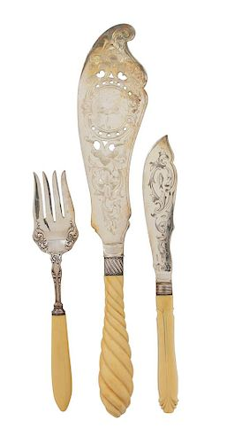 * An English Silverplate Chased Fish Set with Faux Ivory Twist Handles, L. Tolbert Co., 20th Century, together with an electropl