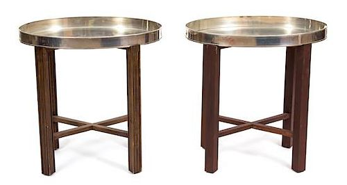 A Pair of Silverplate Oval Serving Trays Height 24 1/2 x width 24 1/2 x depth 16 inches.