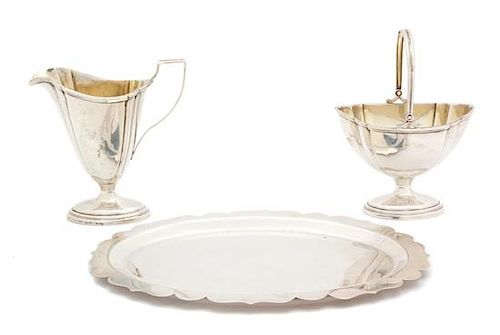 * An American Silver Gilt-Washed Footed Creamer and Sugar Bowl, International Silver, Meridan, CT, 20th Century, together with a