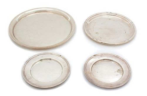 Four American Silver Articles, Various Makers, comprising a pair of small plates, a salver, and a serving tray