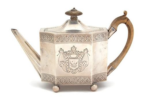 An English Regency Teapot on Tray, Henry Chawner, London, 1830 and 1835, having treen handle and finial