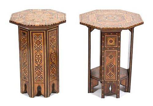 Two Syrian Mother-of-Pearl Inlaid Octagonal Side Tables Height 21 x diameter 15 1/2 inches.