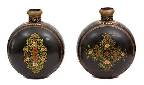 A Pair of Indian Painted Brass Water Jars Height 27 1/4 inches.