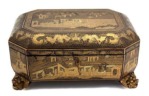 A Chinese Black and Gilt Lacquer Papier Mache Covered Box Height 5 x width 11 x depth 7 1/2 inches.
