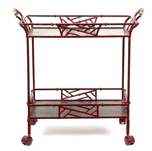 A Chinese Style Red and Gilt Painted Tea Cart Height 30 1/2 x width 30 x depth 18 inches.