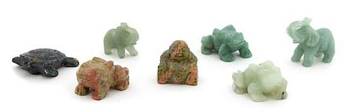 A Collection of Six Chinese Carved Jade and Hardstone Animal Figures Height of largest 2 inches.