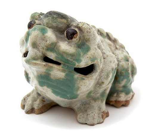 A Chinese Glazed Ceramic Toad Height 5 3/4 x length 7 inches.