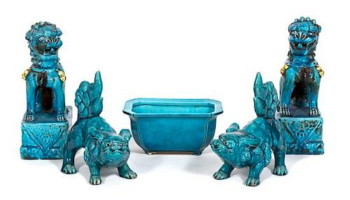 Five Chinese Turquoise Glazed Articles Height of largest 8 inches.