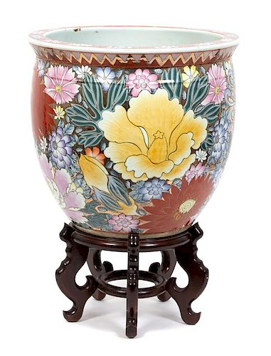 A Chinese Export Porcelain Fish Bowl Height 15 inches.
