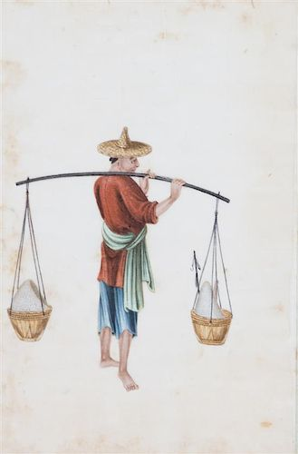 Chinese School, (19th Century), A Set of Six Works Depicting Craftsmen