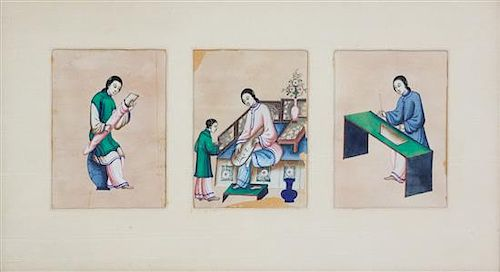 Chinese School, (19th Century), A Set of Eleven Works Depicting Females in Leisurely Pursuits