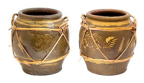 A Pair of Japanese Brown and Ochre Glazed Ceramic Egg Jars Height 14 inches.