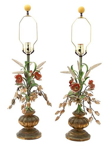A Pair of Italian Painted Tole and Giltwood Table Lamps Overall height 33 inches.
