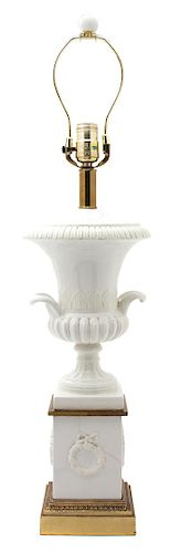 A Campana Urn-Form White Glazed Ceramic Table Lamp Height 23 1/2 inches.