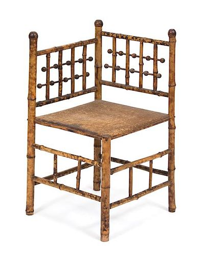 A Victorian Style Bamboo Corner Chair Height 32 inches.