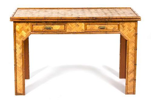 A Rattan Desk Height of desk 31 x width 48 x depth 24 inches.