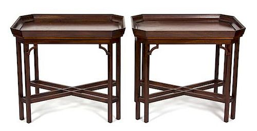 A Pair of Chinese Chippendale Mahogany and Rosewood Tray Top Side Tables Height 26 x width 30 x depth 22 inches.