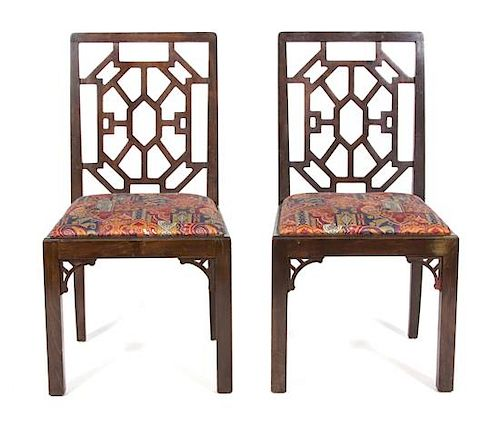 Sixteen Chinese Chippendale Style Mahogany Armchairs Height 36 1/2 inches.