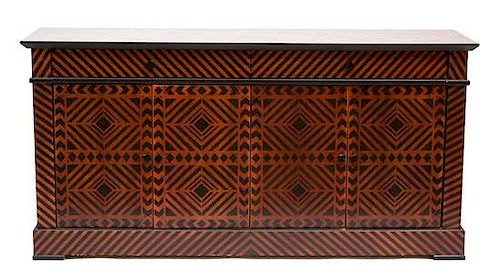 A Modern Painted Wood Sideboard Height 36 x width 72 x depth 20 inches.
