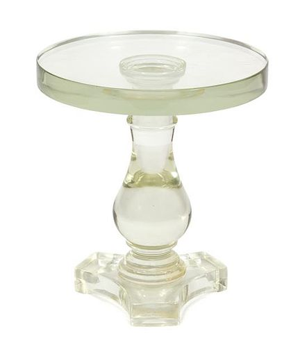 A Mid-Century Solid Glass Pedestal Table Heigh 16 1/4 x diameter 14 1/2 inches.