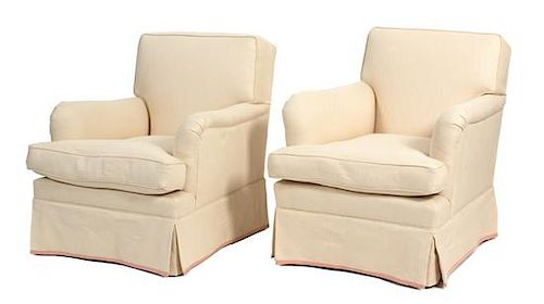 A White Upholstered Sofa and Two Matching Armchairs Length of sofa 68 inches.