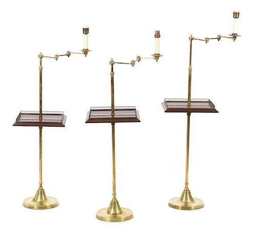 A Collection of Three Vaughan Brass Floor Lamps Height of tallest (to top of candlestick) 50 inches.