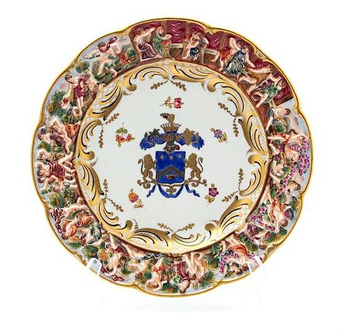 A Capodimonte Porcelain Armorial Plate Diameter 10 1/4 inches.