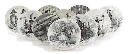 A Set of Ten Creil et Montereau Faience Plates Diameter 8 inches.