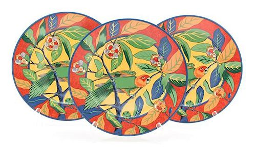 A Set of Eight Laure Japy Dinner Plates Diameter 11 3/4 inches.