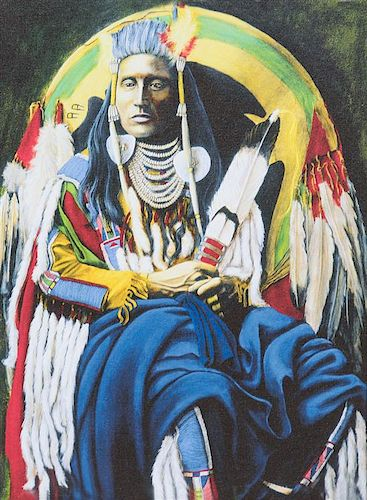 Helmut Koller, (Austrian, b. 1954), Two Works; Young Navajo and Medicine Crow
