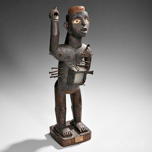 Large Kongo Carved Wood Nail Power Figure