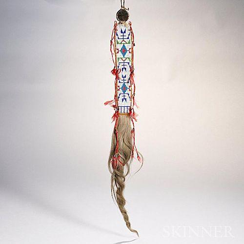 Lakota Beaded Hide and Cloth Hair Drop